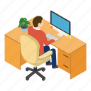 coffee, office, isometric, workplace, desk, table, employment