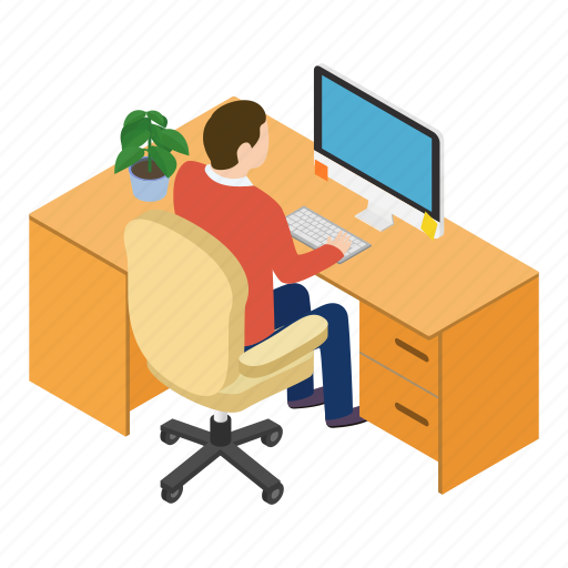 coffee, desk, employment, isometric, office, table, workplace icon