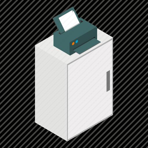 background, document, isometric, minimal, print, printer, technology icon