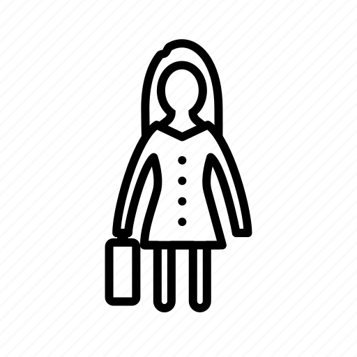 briefcase, female, portfolio, woman with briefcase icon
