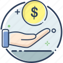 business, cash, fee, fee icon, finance, money, receive icon
