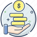 business, business icon, coin, fee, line filled, money, receive icon