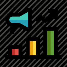 bar graph, data analytic, marketing, megaphone, statistics icon