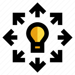 expand, light bulb, resize, scalable, stretch icon