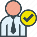 approve, business, man, tick icon