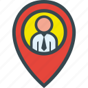 executive, find, map, pin icon