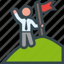 flag, goal, mountain, top