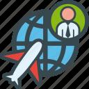 business, globe, man, plane, travel