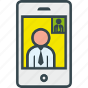 business, call, man, smartphone, video icon