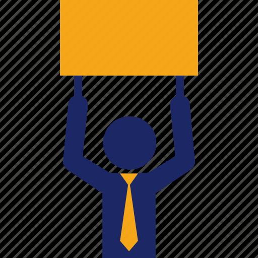 ad, advertising, board, businessman, cardboard, sign icon