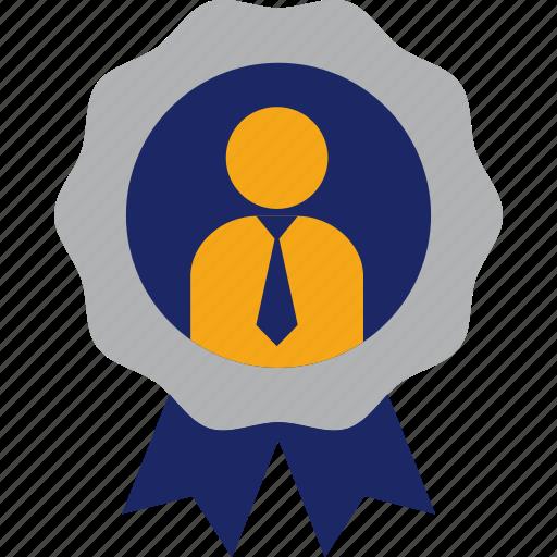 achievement, best, businessman, employee, executive, medal icon