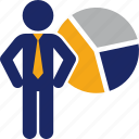 analytics, business, graph, man, pie, statistics icon