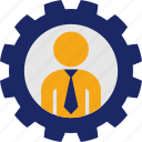 business, gear, job, man, work icon