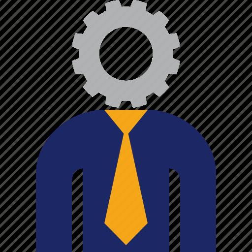 business, gear, head, job, man, work icon