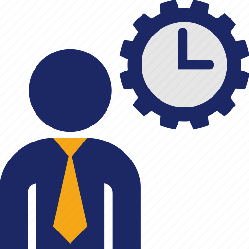 business, clock, man, time, work, working icon