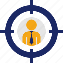 aim, businessman, crossair, headhunter, recruitment, target icon