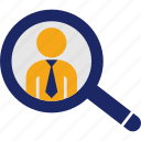 businessman, find, headhunter, magnifier, recruitment, search icon