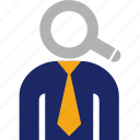 find, head, headhunter, magnifier, recruitment, search icon