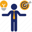 business, compare, goal, idea, man, objective, target icon
