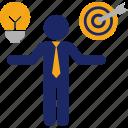 business, compare, goal, idea, man, objective, target