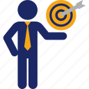 business, goal, man, objective, presentation, ready, target icon
