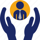 care, employee, hands, human, management, recruitment, resources icon
