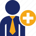 add, business, man, person, plus, user icon