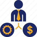 business, gear, job, man, money, work icon