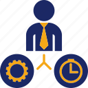 business, clock, gear, job, man, person, time icon