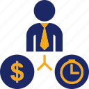 business, clock, currency, man, money, payment, time icon