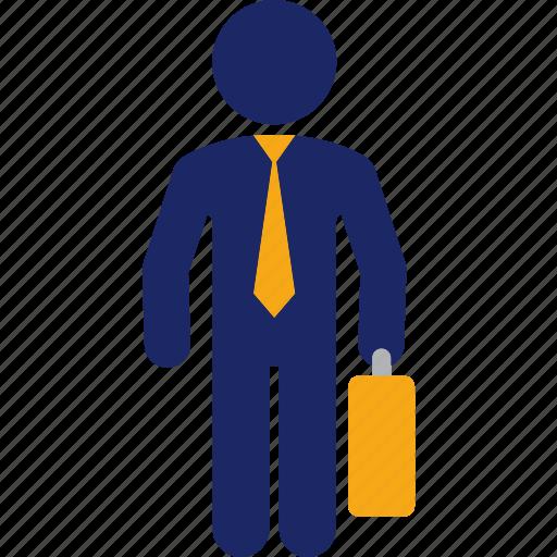business, finance, job, man, money, suitcase, work icon