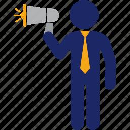 communication, executive, man, megaphone, message, speach, speech icon