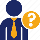 avatar, business, executive, man, question icon