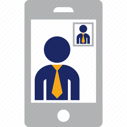 business, call, communication, man, mobile, phone, smartphone, video icon
