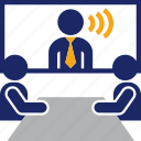 business, communication, conference, distance, meeeting, video icon