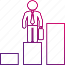 bars, career, executive, graph, promotion, work icon