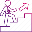 career, executive, promotion, stairs, up, work icon