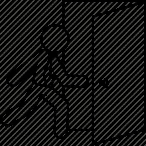 business man, close, door, escape, escaping, exit, logout icon