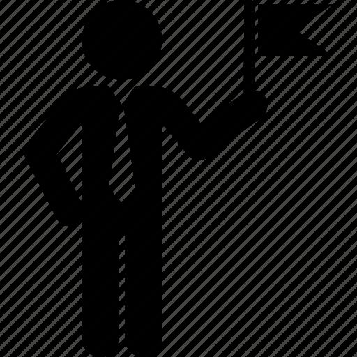 Ambassador, businessman, delegate, flag, goal icon - Download on Iconfinder