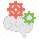 brain and gear, brain functioning, brain process, creative thinking, knowledge management icon