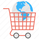 commerce, global market, global sales, globe in cart, worldwide shopping icon