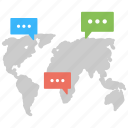 communication network, global dialogues, international communication, web chat, worldwide connection icon