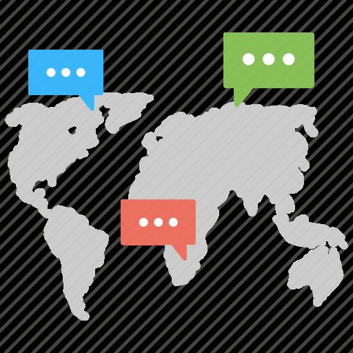 communication network, global dialogues, international communication, web chat, worldwide connection icon