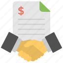 agreement, business contract, business deal, men handshaking, project partnership icon
