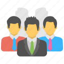 business team, management, organization, people, teamwork icon
