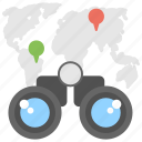 binocular with map, business search, business vision, global search, opportunity lookup icon