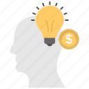business idea, creativity, dollar with bulb, innovation, money and idea icon