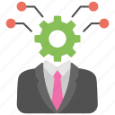 hiring concept, hr, human resource, man with gear, recruitment process icon