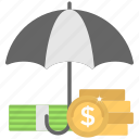 business insurance, dollar under umbrella, financial safety, money protection, umbrella policy icon