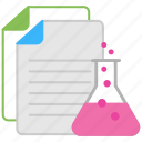 business management, business research, business strategy, document with flask, lab document icon